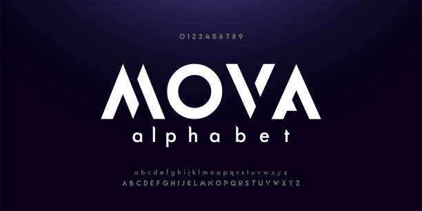 abstract digital modern alphabet fonts. typography technology electronic dance music future creative font. vector illustraion - futurystyczny stock illustrations
