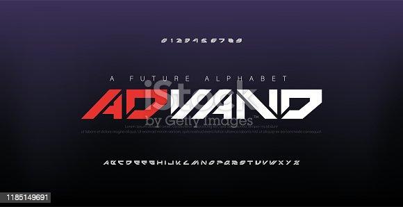 istock Abstract digital modern alphabet fonts. Typography technology electronic dance music future creative font. vector illustraion 1185149691