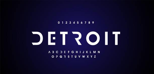 추상 디지털 현대 알파벳 글꼴입니다. 타이포그래피 기술 일렉트로닉 댄스 뮤직 미래 창조적 인 글꼴. 벡터 일러스트 - future stock illustrations