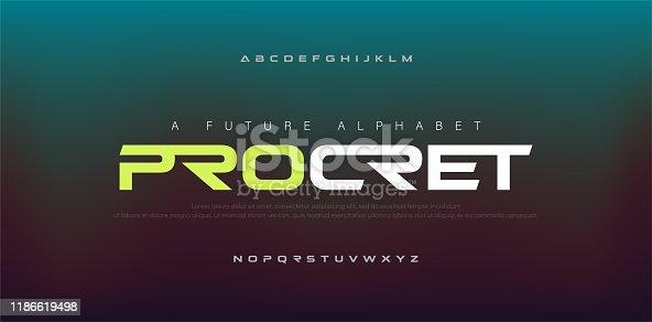 istock Abstract digital modern alphabet fonts. Typography technology electronic, sport, music, future creative font. vector illustraion 1186619498