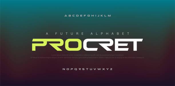 추상 디지털 현대 알파벳 글꼴입니다. 타이포그래피 기술 전자, 스포츠, 음악, 미래의 창조적 인 글꼴. 벡터 일러스트 - future stock illustrations
