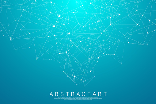 Abstract digital network connection structure on blue background. Artificial intelligence and engineering technology concept. Global network Big Data, Lines plexus, minimal array. Vector illustration