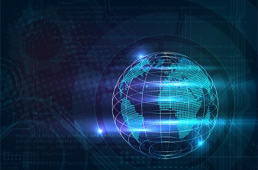 Résumé Historique De Formation Technique Ou Informatique Numérique Avec Globe Brillant Vecteurs libres de droits et plus d'images vectorielles de Abstrait