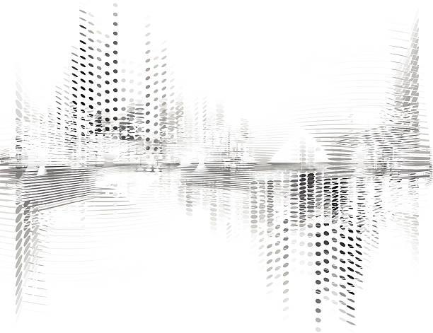 抽象的なベクトルの背景のデジタル - 都市 モノクロ点のイラスト素材/クリップアート素材/マンガ素材/アイコン素材