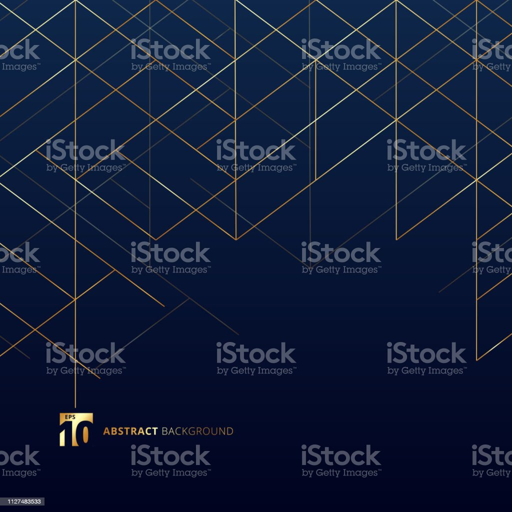 Abstract dimension lines gold color on dark blue background. Modern luxury style square mesh. Digital geometric abstraction with line. - Royalty-free Abstrato arte vetorial