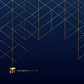 Abstract dimension lines gold color on dark blue background. Modern luxury style square mesh. Digital geometric abstraction with line. Vector illustration