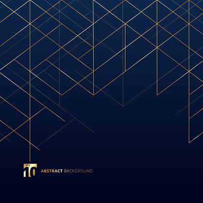抽象尺寸線在深藍色背景上的金色現代豪華風格的方形網帶線條的數位幾何抽象向量圖形及更多具有特定質地圖片