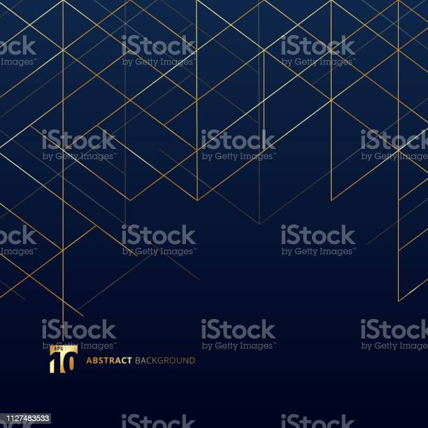 Abstract Dimension Lines Gold Color On Dark Blue Background Modern Luxury Style Square Mesh Digital Geometric Abstraction With Line - Arte vetorial de stock e mais imagens de Abstrato