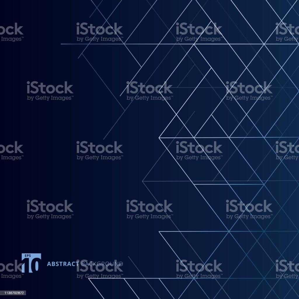 Abstract Dimension Lines Silver Color On Dark Blue