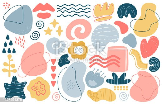 Abstract doodle elements. Trendy modern hand drawn textured shapes, creative contemporary aesthetic doodle elements vector illustration set. Texture graphic design, modern sketch