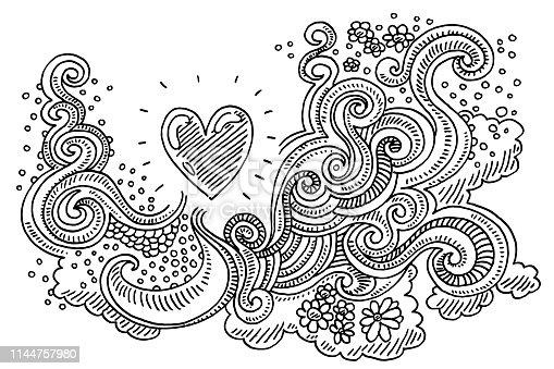 Hand-drawn vector drawing of an Abstract Doodle Love Pattern. Black-and-White sketch on a transparent background (.eps-file). Included files are EPS (v10) and Hi-Res JPG.