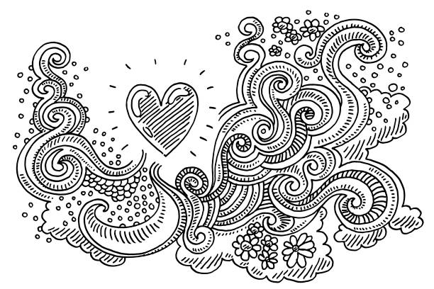 Abstract Doodle Love Pattern Drawing vector art illustration