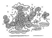 Abstract Doodle Pattern Cloud Stars Drawing