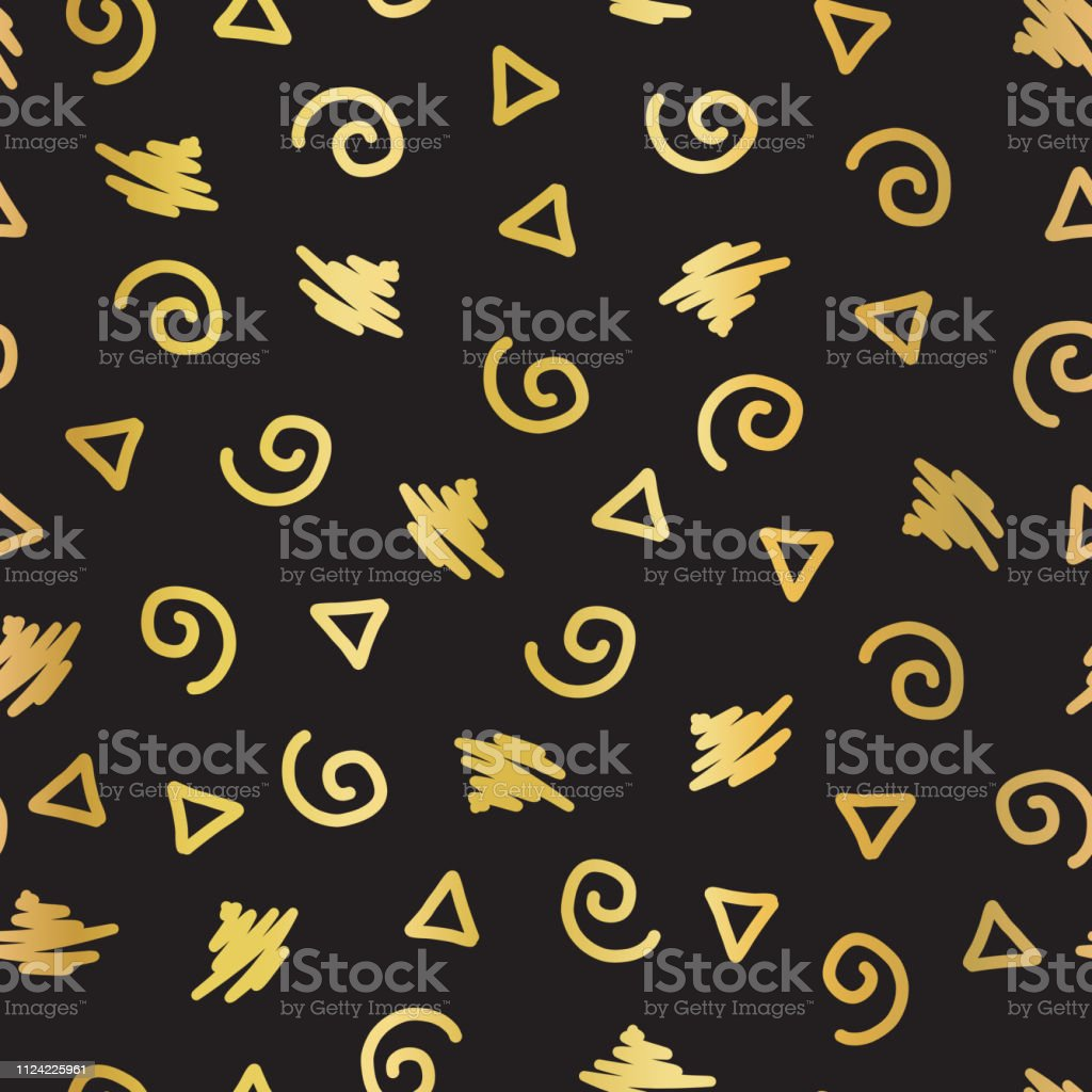 Abstract Doodle Shapes Gold Foil Seamless Vector Background Shiny