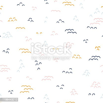 istock Abstract doodle shapes seamless vector pattern. Kids background. Coordinate 1199443212