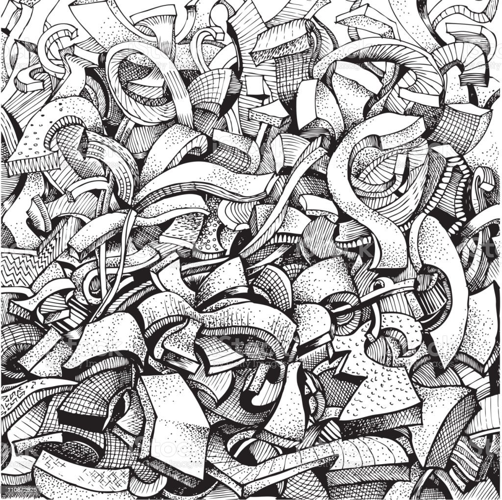 Abstract Doodles In Black And White Stock Illustration