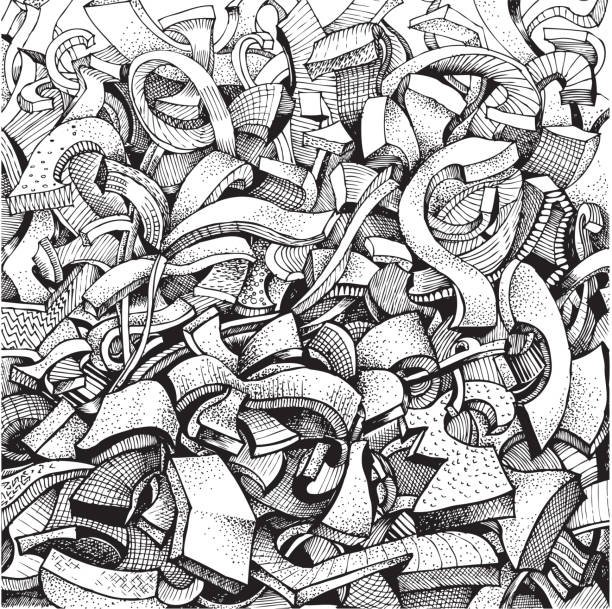 abstract doodles in black and white - graffiti backgrounds stock illustrations, clip art, cartoons, & icons