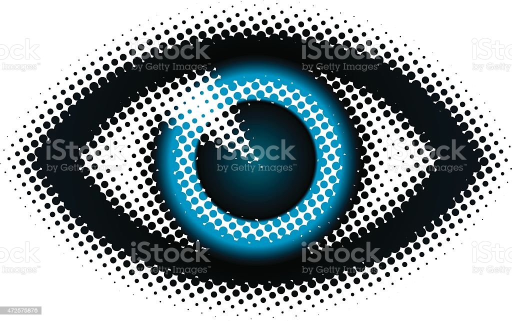 Abstract dot mosaic image of a blue eye vector art illustration