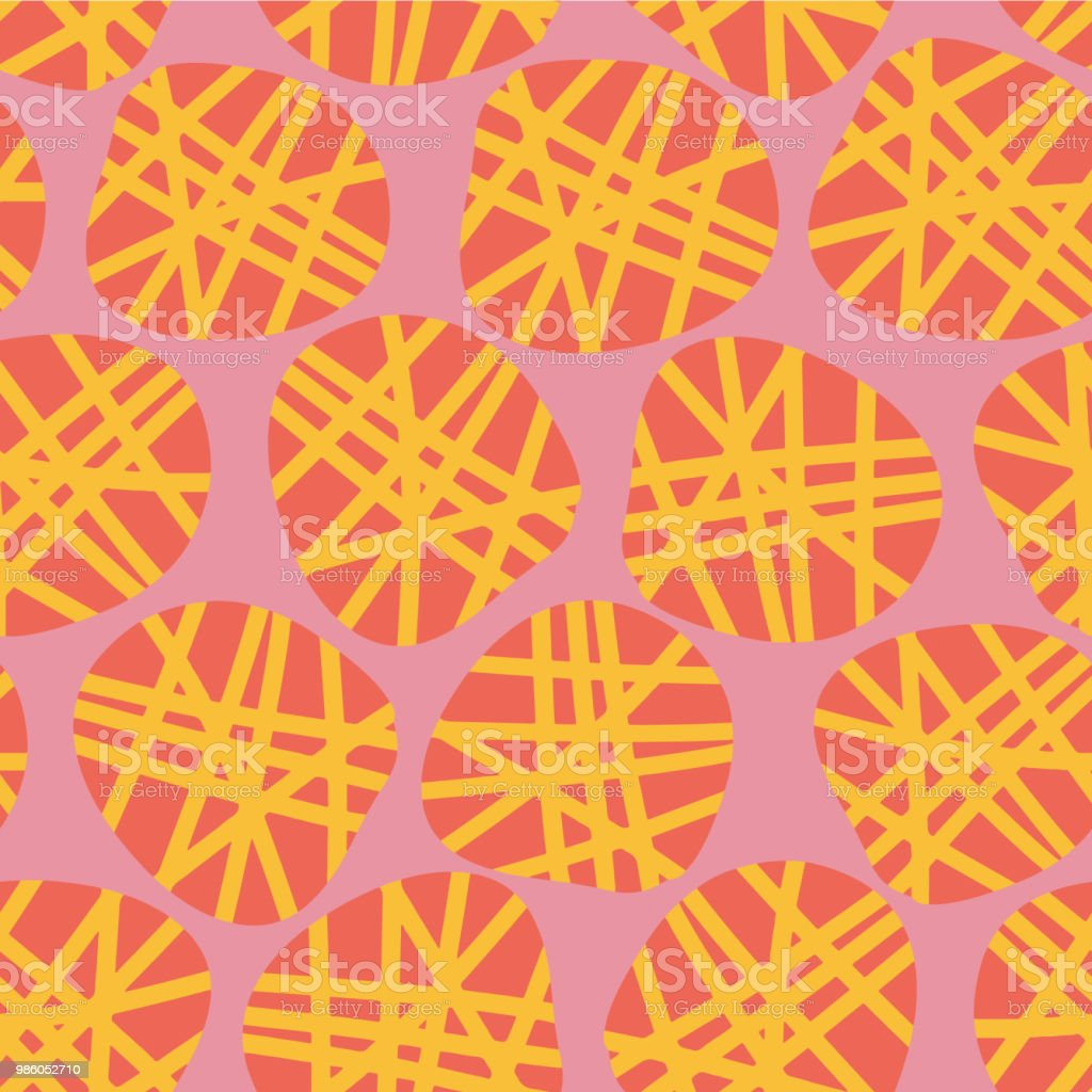 Abstract dot shapes vector seamless pattern. Orange and yellow dots on a pink background. Great for fabric prints, paper projects, and packaging. vector art illustration