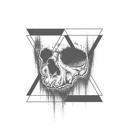 Abstract dot work grunge skull tattoo design.