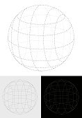Vector Illustration Abstract Dots 3D Globe Shape Planet on 3 option colours