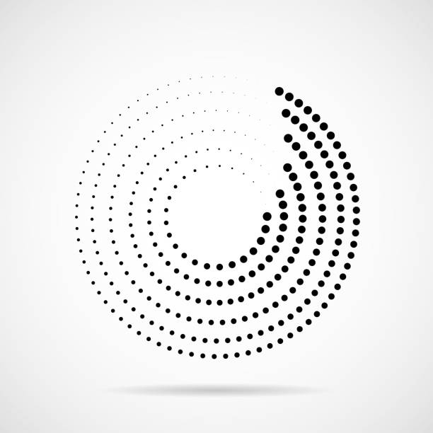Abstract dotted circles. Dots in circular form Ball, Shaped, Spotted, Logo, Halftone effect, Circle, Geometric Shape, Point himbeeren stock illustrations