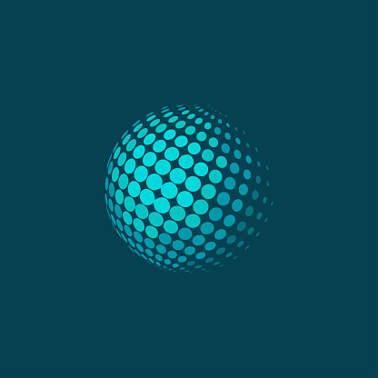 Abstract dotted halftone sphere on blue background. Plane colors