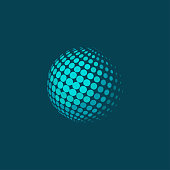 Vector illustration of abstract dotted halftone sphere on blue background. Plane colors