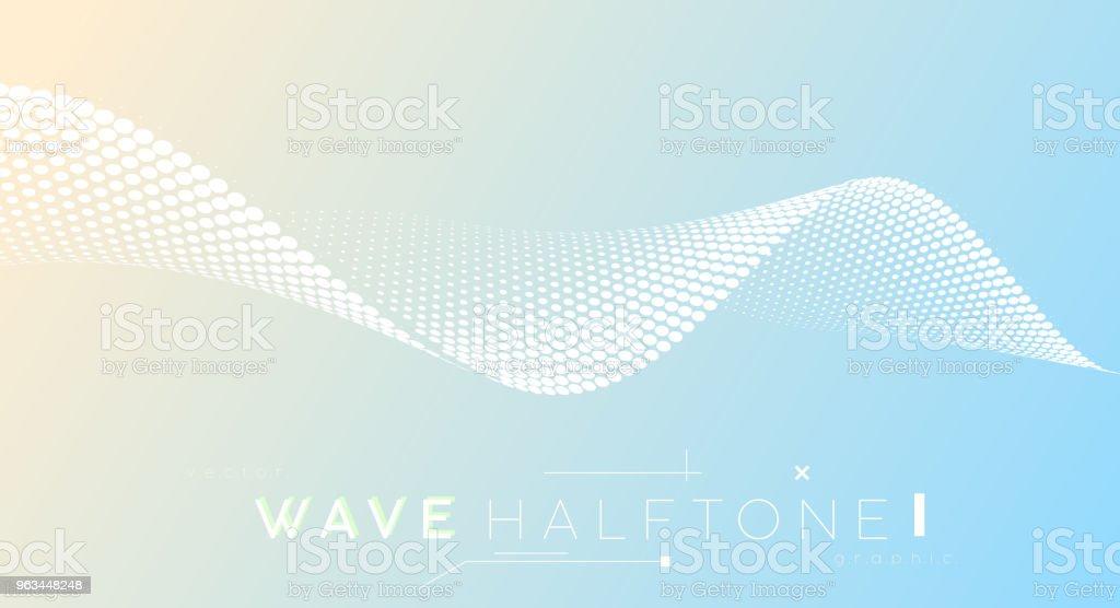 Vague de demi-teinte en pointillés abstraite, expérience des affaires. Points de courbes rabotent symbolisée mouvement, mouvement de flux. - clipart vectoriel de Abstrait libre de droits