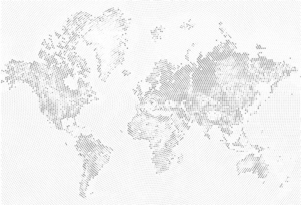 Royalty free flat world map atlas dot style clip art vector images abstract dotted map black and white halftone grunge effect illustration world map silhouette continental gumiabroncs Images