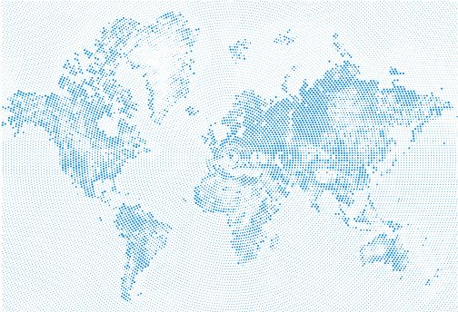 Abstract Dotted Map Blue and White Halftone grunge Effect Illustration. World map silhouettes. Continental shapes of dots. Monochrome radial circular grain background. Vector template easy to edit.