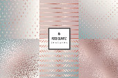 Set of trendy rose gold quartz textures for cover, brochure, flyer, poster, invitation, stylish design. Abstract dotted, striped, glitter, triangles background.Vector illustration Gradients patterns