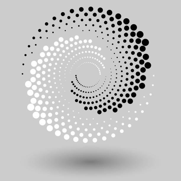 abstrakcyjne kropkowane tło wektorowe. efekt półtonu. spiralne kropkowane tło lub ikona. styl yin i yang - ruch stock illustrations