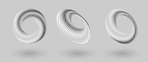 abstrakter gepunkteter vektorhintergrund. halbtoneffekt. spiralgepunkteter hintergrund oder symbol. yin und yang-stil - digitale verbesserung stock-grafiken, -clipart, -cartoons und -symbole