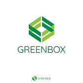 Abstract double green arrow make box shape. Logo Template with flat style for healthy, vegan, medical product or services brand.