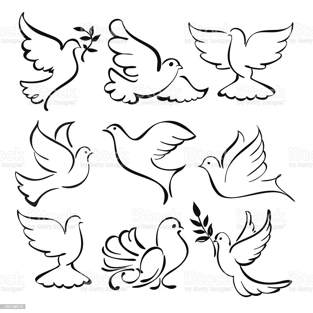 abstract  dove  set vector  illustration royalty-free abstract dove set vector illustration stock vector art & more images of abstract