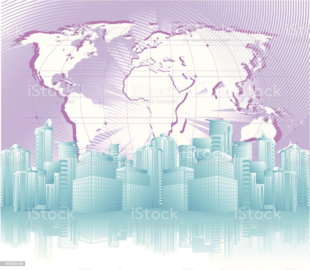 Abstract Downtown Background with Globe royalty-free stock vector art