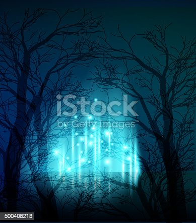 Vector illustration Abstract dramatic night tree. EPS10