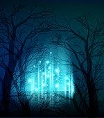 Vector illustration Abstract dramatic night tree. EPS10