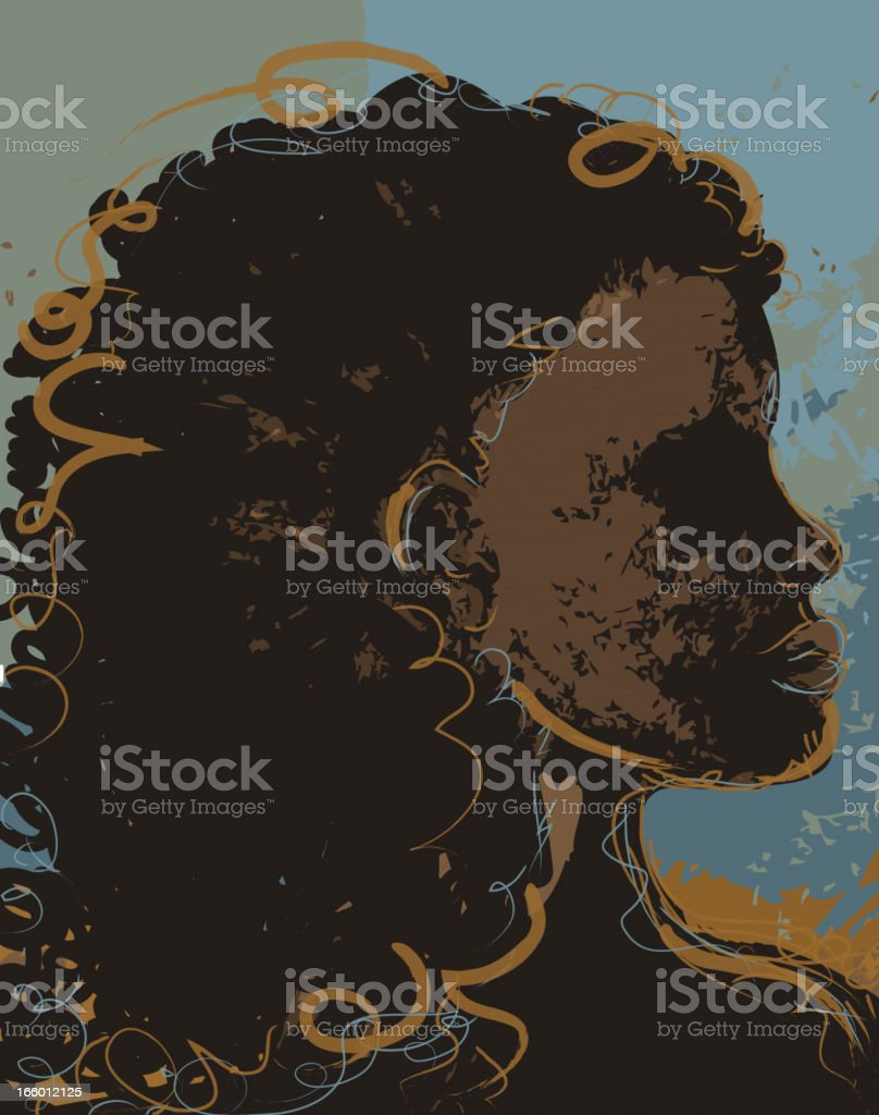 Abstract drawing of a proud African woman vector art illustration