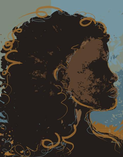 ilustraciones, imágenes clip art, dibujos animados e iconos de stock de orgullosos de dibujo abstracto de mujer africana - africano americano