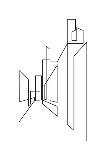 Abstract drawing of urban street