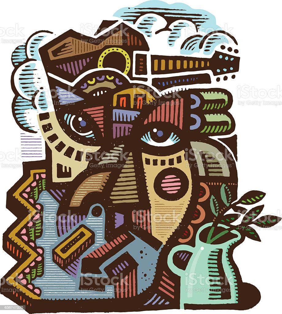 Abstract drawing vector art illustration