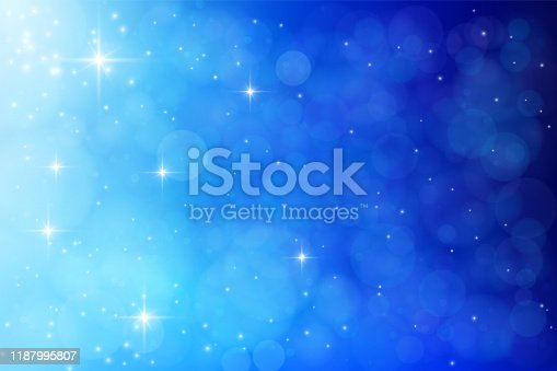 Abstract Christmas blue background: Defocused lights, stars and shiny particles. The eps file is organised into layers for better editing - e.g. remove stars, particles, groups of defocused lights or background.