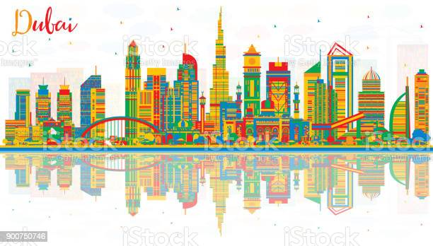 Abstract dubai uae city skyline with color buildings and reflections vector id900750746?b=1&k=6&m=900750746&s=612x612&h=em4k6wwwvonmk4om6aatxqlvesvlzd svnplxttcvi0=