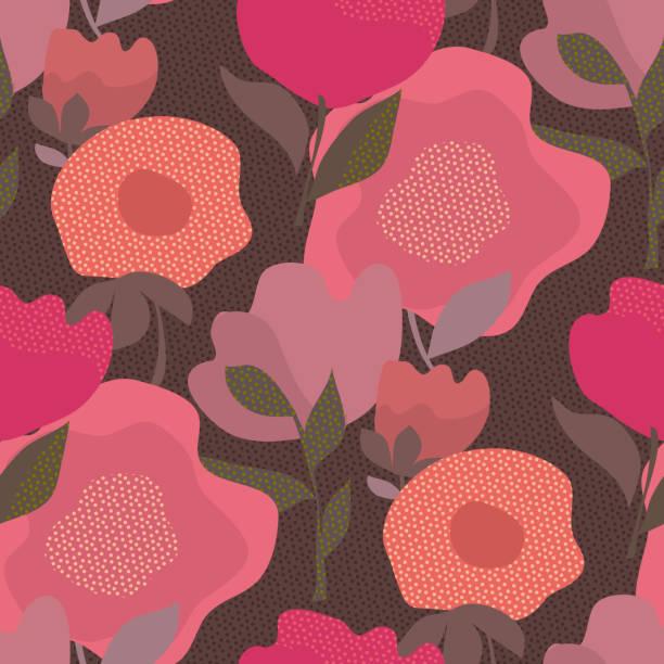 bildbanksillustrationer, clip art samt tecknat material och ikoner med abstrakta damm färg sömlös blommönster - summer sweden