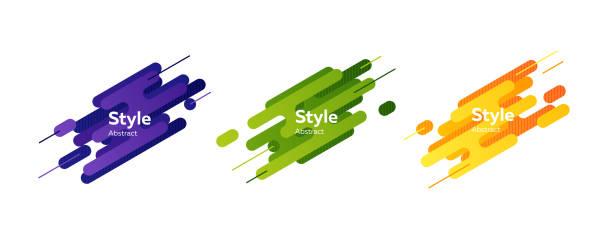 동적 선 집합을 추상화합니다. 바이올렛, 그린, 옐로우 - 샘플 텍스트 stock illustrations