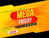Abstract dynamic Mega Friday banner in bright yellow gradient color for special offers, sales and discounts. 70% off
