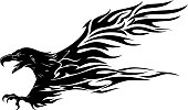 Isolated vector illustration of abstract artwork flying eagle side view with sharp claws.