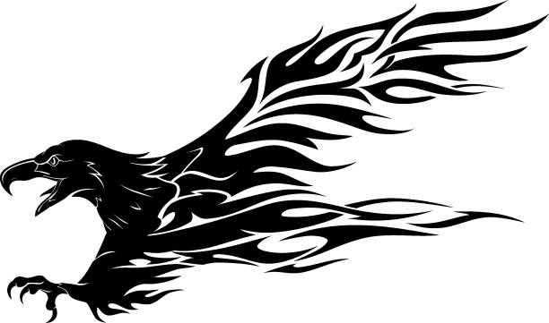 abstrakte adler flamme tattoo - feuer tattoos stock-grafiken, -clipart, -cartoons und -symbole